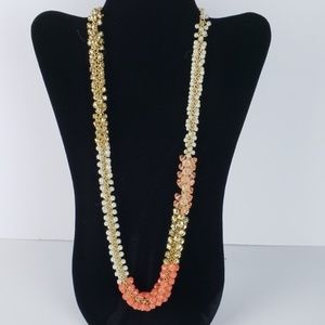 NWT Gold, Pearl & Peach Beaded Statement Necklace